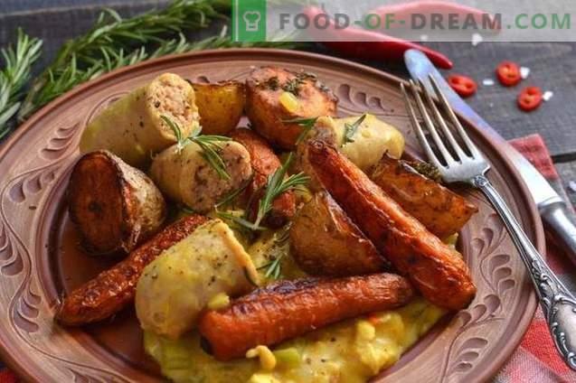 Пилешки гулаш с печени зеленчуци и колбаси
