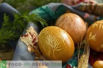Eier für Ostern mit Kurkuma, Zwiebelschalen, Gaze malen ...