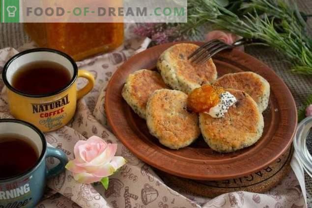 Pasteles de queso con semillas de amapola y pasas - el sabor de la infancia