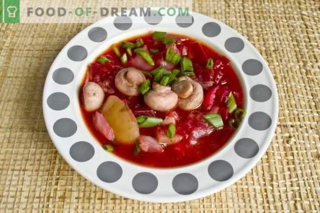 Червена супа от червено цвекло с пиле и печурки