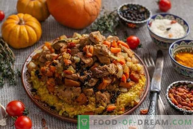 Рязък пилаф с тиква и месо в азербайджански стил