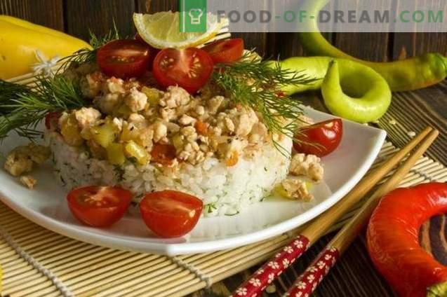 Пилешко филе с ориз и зеленчуци на корейски