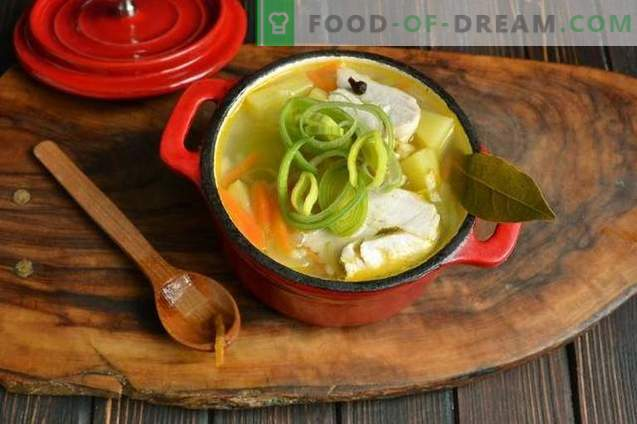 Zuppa di riso con petto di pollo e porro