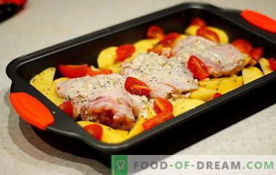 Piščančja stegna s krompirjem v pečici - najboljši recepti. Piščančji stegni recepti s krompirjem v pečici: v foliji, rokavi