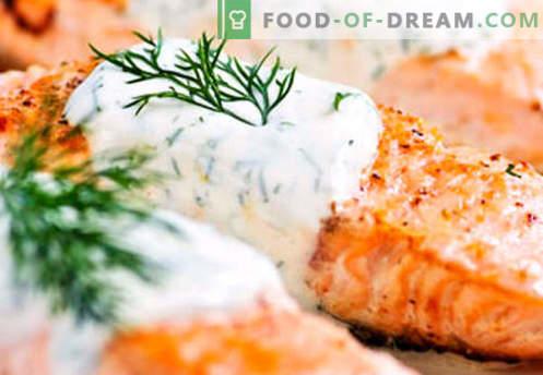Сьомга в кремав сос - най-добрите рецепти. Как правилно и вкусно да се готви сьомга в кремав сос.