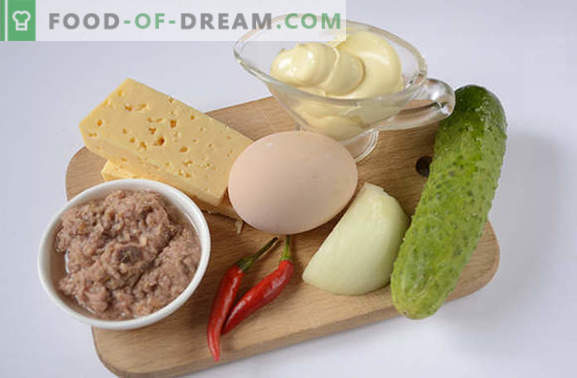 Салата с риба тон: полезна закуска с високо съдържание на протеини. Стъпка по стъпка рецепта авторска фото-рецепта на пикантна салата с риба тон, яйца, сирене