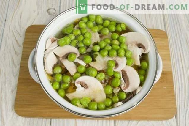 Soupe au poulet aux petits pois et aux champignons