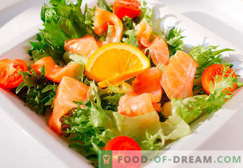 Salad with salmon - a selection of the best recipes. How to properly and deliciously make a salad with salmon.