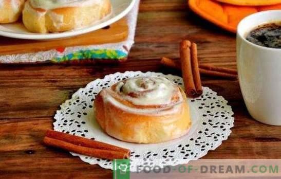 Panini Sinabon a casa - rose dolci sul tavolo! Ricette Sinabon rotola in casa con cannella, cacao, semi di papavero, marmellata