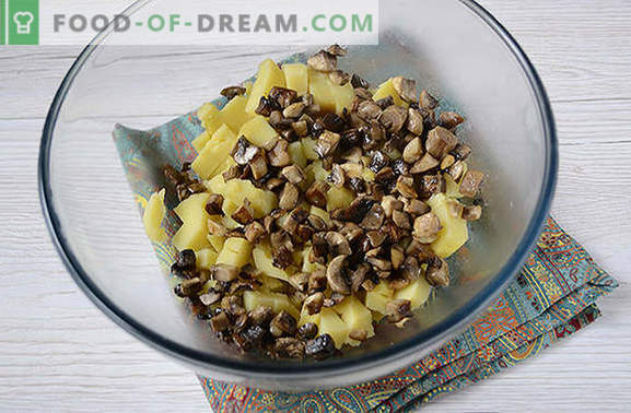 Картофена салата с гъби - цялостно ястие за летен обяд или вечеря. Стъпка по стъпка фото-рецепта за картофена салата с гъби