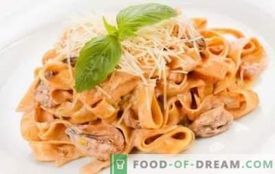 Pasta met zeevruchten in roomsaus - een delicate smaak van Italië! Bewezen pasta-recepten met zeevruchten in roomsaus