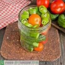 Мариновани краставици с домати - летни за зимата