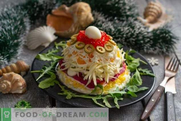 New Year's Salad with Red Fish and Caviar