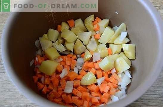 Растително яхния с кюфтета в бавен котлон: сърдечно и красиво ястие. Авторска стъпка по стъпка фото-рецепта за готвене в зеленчуци за готвене с много ястия