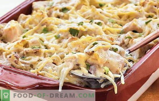 Пилешкото спагети е бърза и евтина вечеря. Как да готвя спагети с пиле за радост на цялото семейство: най-добрите рецепти