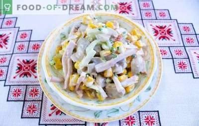 Salatid šampinjonidega ja singiga - klassikalised pidulikud lauad. Retseptid šampinjonidele ja singi salatitele: kerge ja toitev