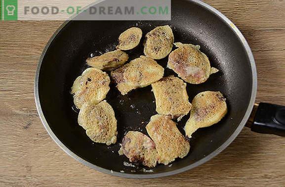 Пилешки дроб в тесто: нова и необичайна авторска рецепта. Как да готвя вкусни пилешки дроб в тесто: стъпка по стъпка рецепта за снимки