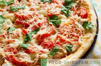 Пилешка пица - најдобрите рецепти. Како правилно и вкусно готви пица со пилешко.