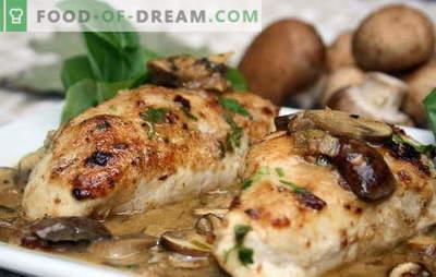 Пилешко филе с гъби във фурната е най-доброто решение за семейна вечеря. Методи за приготвяне на пилешко филе с гъби във фурната