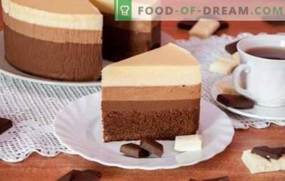 Tres pasteles de chocolate: una receta para los gourmets más sofisticados.