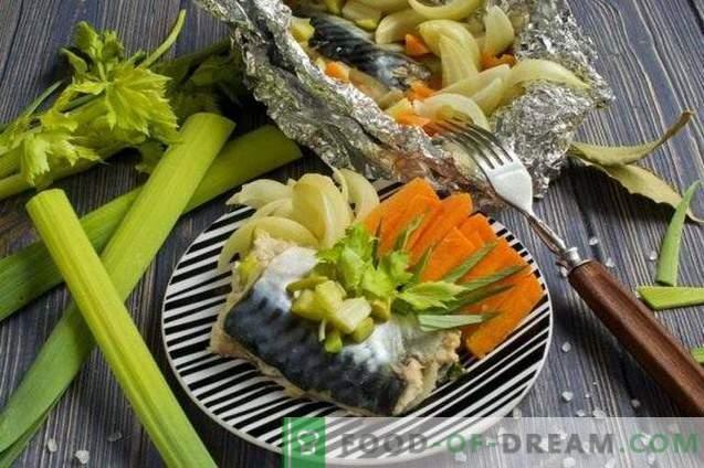 Скумрия във фолио, задушена със зеленчуци