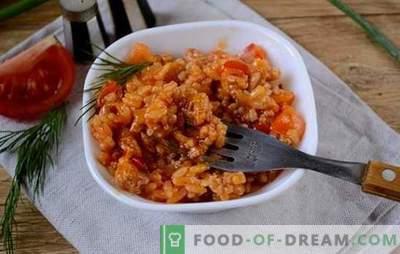 Riis koos hakklihaga ja köögiviljadega tomatis: fantaasia olemasolevate toodete risotto kohta. Foto retsept riisi valmistamiseks hakkliha ja köögiviljadega tomatis: samm-sammult