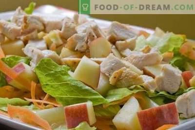 Vištienos ir obuolių salotos yra geriausi receptai. Kaip tinkamai ir skaniai paruošti vištienos salotos su obuoliais.