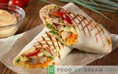 Shawarma de porco - fast food real! Receitas shawarma caseiro com carne de porco e legumes, cogumelos, queijo, pepino