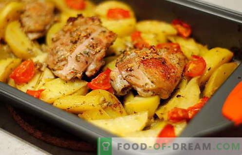 Пиле, изпечено с картофи - най-добрите рецепти. Как правилно и вкусно да се готви печено пиле с картофи.