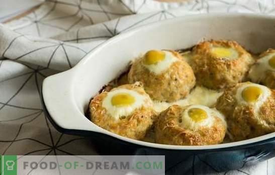 Гнездата на мляно месо с яйце във фурната - алтернатива на кюфтетата. Рецепти гнезда на мляно месо с яйце във фурната с различни пълнежи