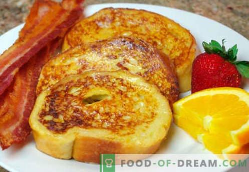 Яйце тост - най-добрите рецепти. Как правилно и вкусно да готви крутони с яйце.