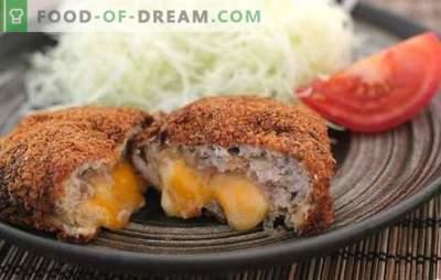 Копањата со мелено месо и сирење се нежен додаток на странично јадење со вкус на крема. Мелешки котлети со сирење во внатрешноста