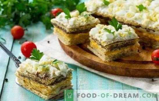Вафли с херинга - вкусни! Прости вафлени сладкиши с херинга и гъби, черен дроб на треска и зеленчуци