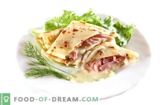 Палачинки с шунка и сирене - yum-yum! Рецептата за вкусни палачинки с шунка и сирене: печена, пълнена, с шип