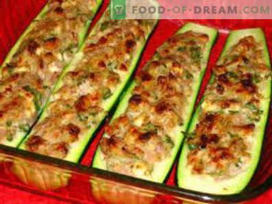 Тиквички, пълнени с месо, запечено в пещта, рецепти за готвене