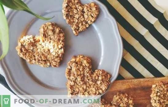 Овесени бисквити, направени от валцуван овес: здравословен десерт. Варианти на овесени бисквити от валцуван овес с джинджифил, банан, мед, сушени плодове
