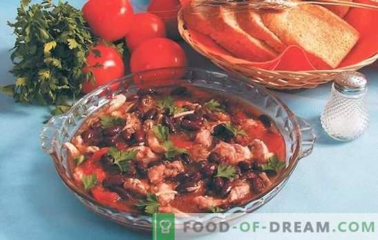 Колко вкусно е да се правят боб с домати: червено, бяло, зелено, консервирано. Рецепти за гарнитури и боб с домати