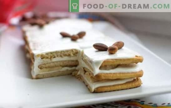 Бананова торта без печене с бисквити и кондензирано мляко е вкусно! Как бързо да направите торта банан без печене с бисквити и кондензирано мляко
