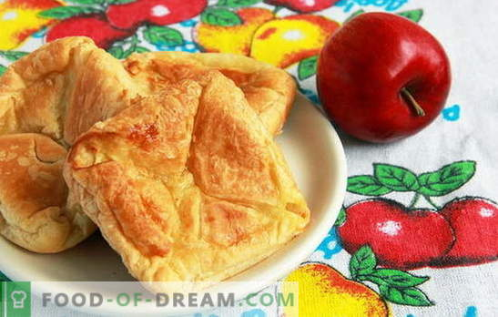 Тесто с ябълки с бутер тесто - по-лесно, отколкото си мислите. Рецепти за бутер тесто с ябълки от бутер тесто: езици и пликове