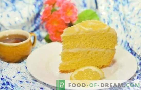 Лимонов кейк: бисквити, бутер, суфле, пясък, желе, целувка, сладолед. Авторски рецепти за лимонови торти и глазура