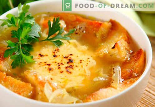 Френска лучена супа - доказани рецепти. Как правилно и вкусно да се готви френска лучена супа.
