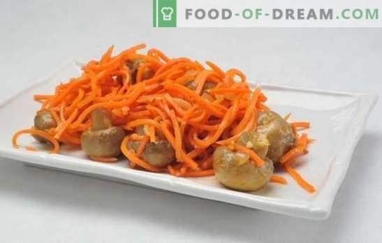 Просто и сложно ястие - салата с корейски моркови и гъби. Готвене салата: корейски моркови, гъби ... какво друго?