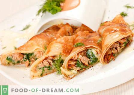 Палачинки с пиле - най-добрите рецепти. Как да правилно и вкусно готви палачинки с пиле.