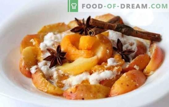 Печена тиква с ябълки - харесва ви! Печени рецепти от тиква с ябълки и портокали, сушени плодове, ориз и целувка