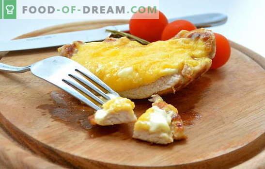 Най-простият от комплекса: рецепти за месо, печено със сирене. Свинско, пилешко, телешко месо, печено със сирене от различни сортове - вкусно!
