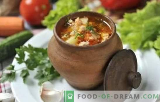 Царска кралска супа с телешко месо, свински корем, агнешко и птиче месо. Тайните на кралската супа в саксията и саксиите