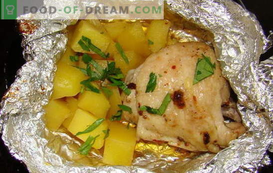 Пиле с картофи във фурната във фолио - нови рецепти. Как да готвя пиле с картофи във фурната във фолио