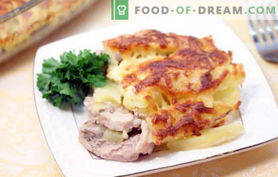 Свинско на френски език с картофи - вкусно! Рецепти за свинско на френски език с картофи: във фурната, бавно печка, в тиган