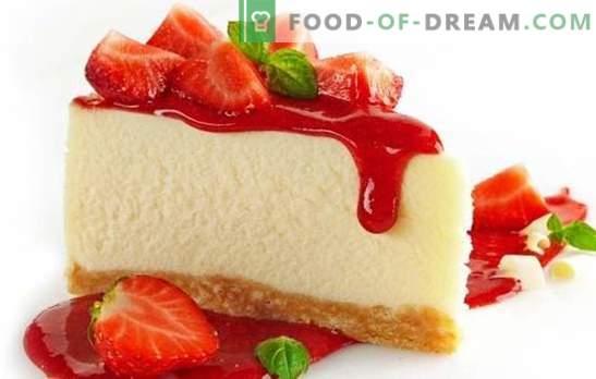 Украса за маса - пъстър ягодов чийзкейк. Десертни чийзкейк с ягоди: горещо и студено готвене