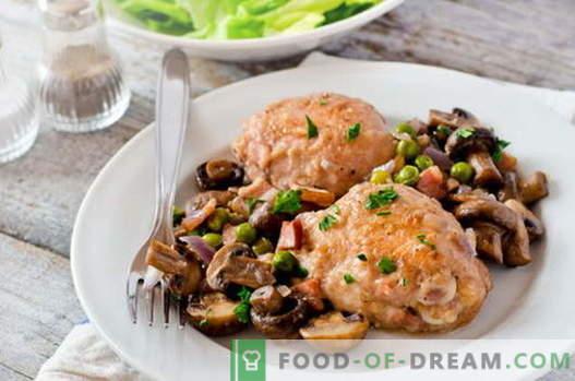 Пиле с гъби - най-добрите рецепти. Как да правим и да готвя пиле с гъби.